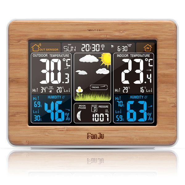 FanJu Wecker Wetterstation Farbvorhersage Temperatur Luftfeuchtigkeit Barometer Alarm Mondphase Specialty Uhren Home Decor