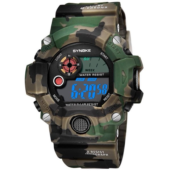 Men Sports Watches LCD Digital Electronic Movement Watch Camouflage Outdoor Waterproof Chronograph Compass Student Wrist Watches