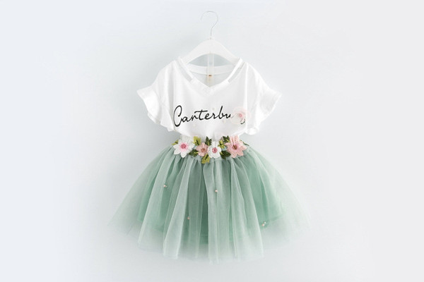 Children lace skirts outfits girls Letter print top+flower tutu skirts 2pcs/set summer kids Clothing Sets
