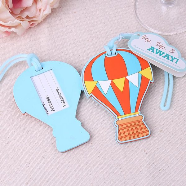 "FREE SHIPPING+New Wedding Gift For Guest""Up, Up & Away"" Hot Air Balloon Rubber Luggage Tag Travel Bridal Shower Favors+15pcs/Lot"