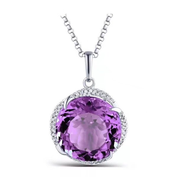 Whosesale 925 Sterling Silver with Natural Amethyst Pendant with Chain Genuine Gemstone Necklace for Women Fashion Jewelry