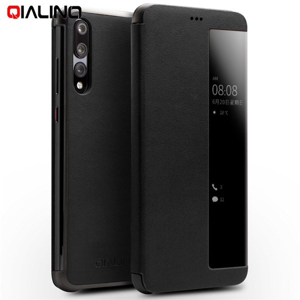 wholesale Smart Case for Huawei P20 Pro View Window Cowhide Leather Smart Phone Case for Huawei P20 Pro 6.1 inch Shell Fundas