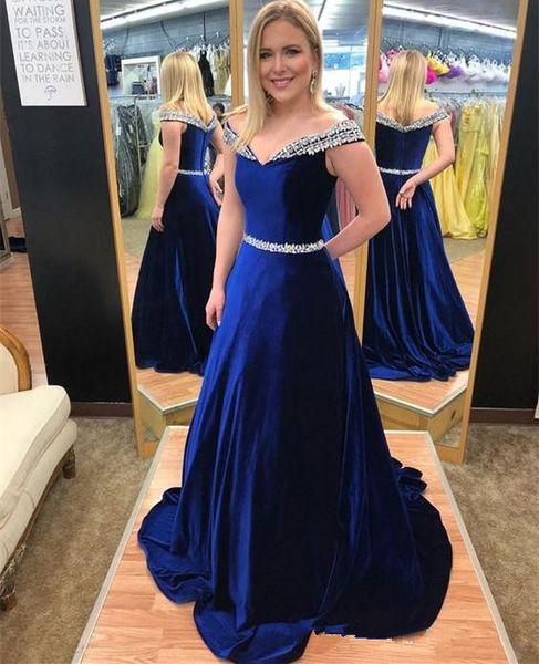 Royal Blue Long Elegant Evening Dresses with Beaded Off Shoulder Zipper Back Mother of the Bride Dress