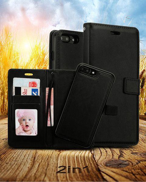 Iphone xs için max 8 7 6 artı 2 in 1 manyetik mıknatıs ayrılabilir çıkarılabilir cüzdan kılıf kapak için galaxy s10 artı