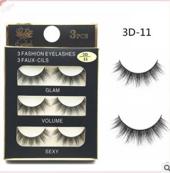 Can Mix Stye 3Pairs New 3D Natural Cross thick Curly Messy False Eyelashes long makeup 3D Lashes Fake Eye Lashes Extension Make Up Beauty