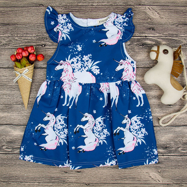 0f72f0da5e13e 2019 Toddler Baby Girls Dress Round Neck Floral Outfits Unicorn Summer  Sleeveless Blue Dresses Girl Clothing Cute Kid Dress 1 6 Years LC743 From  ...