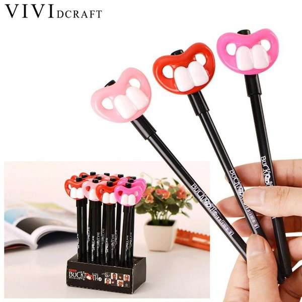 1PCS 0.5mm Cartoon Tooth Decay Black Ink Gel Pen Refill School Supplies Cute Pen Kawaii Funny Toys for Kids Writing Stationery