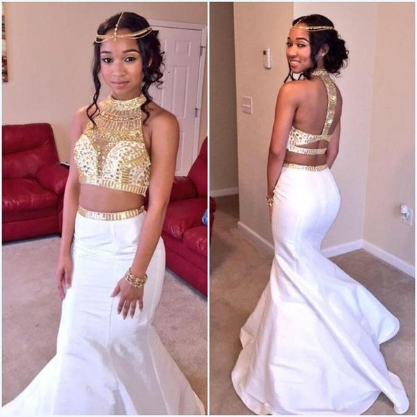 Chic White With Gold Crystal Mermaid Pageant Prom Dresses 2018 High Neck Two Piece Beaded Satin Unique Back Designer Evening Formal Dress