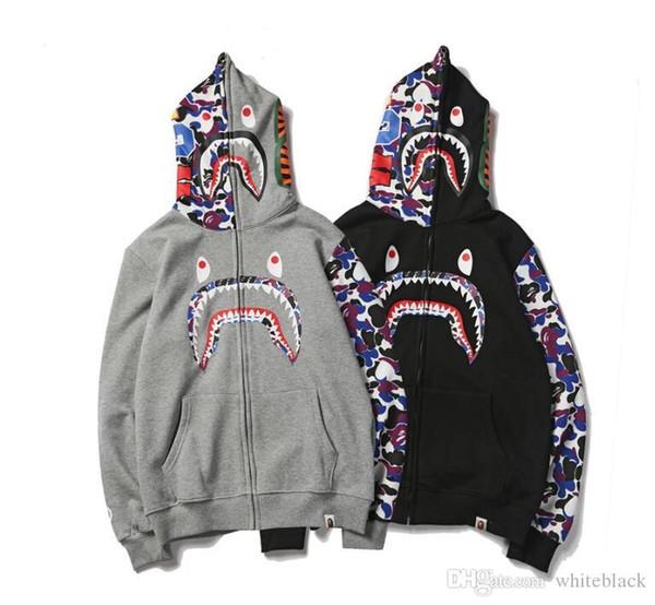 Nouveau hiver à capuche pas cher hommes une baignade AAPE Ape requin capuche à capuche manteau camo veste zippée camouflage Hoodies chaud