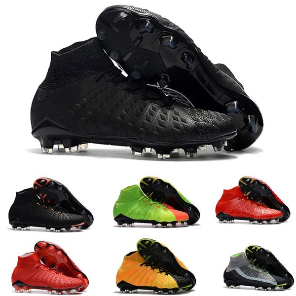 Original New High Ankle Top Football Boot Hypervenom Phantom III DF FG ACC Soccer Cleats HypervenomX Proximo TF AG Indoor Soccer Shoes Turf