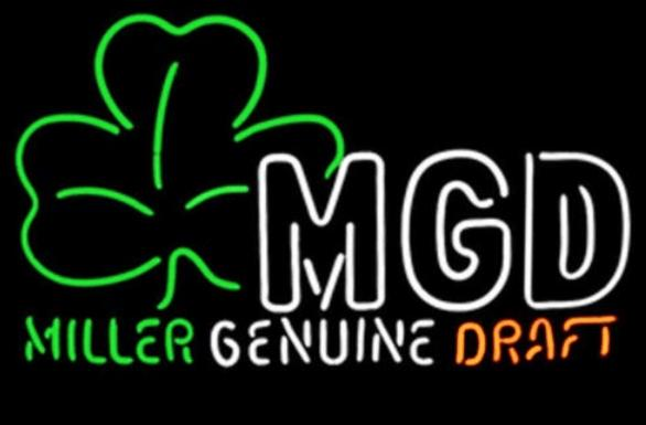 Miller MGD Shamrock glass tube Neon Light Sign Home Beer Bar Pub Recreation Room Game Lights Windows Glass Wall Signs 24*20 inches