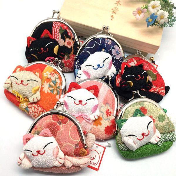 Portamonete Giappone Giapponese Kimono Cat Fish Coin Purse Portafoglio Lucky Storage Bags Make Up Bags Case