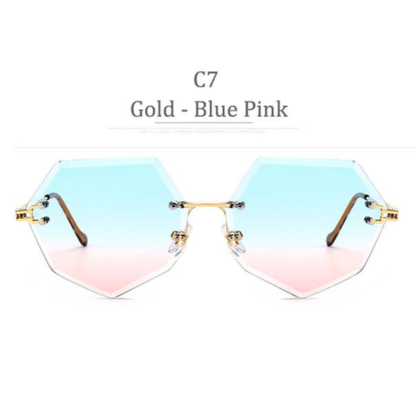 Lente C7 Gold Frame Blue Pink