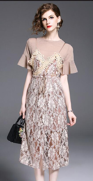 2018 Summer New Lace Dress Medium style Short sleeve two-piece set Flower braces skirt Women's Casual Dresses
