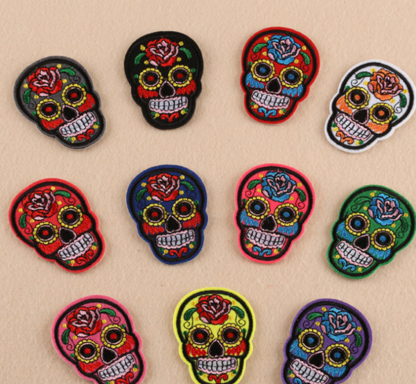 IDS Set of 55 PCS Iron on Embroidery cloth stickers wholesale rose ghost head clothing accessories patch patch badge badges shoes and hats
