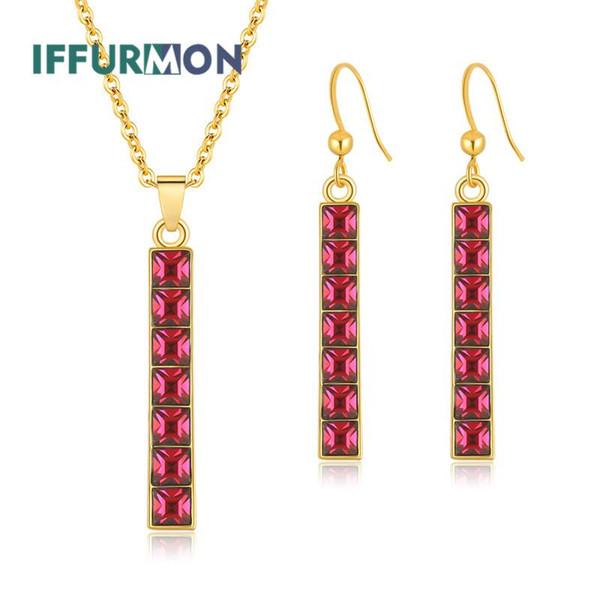 IFFURMON Nigerian Wedding Jewelry Sets For Women New 2018 African Beads Jewelry Set Square Party Cheap Fashion Jewellery