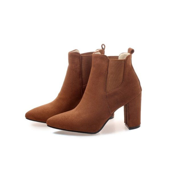 Hot Sale Womens Ladies Solid Color Pointed Toes Shoes Chunky Heel Ankle Boots B898 Size Customized By Favoshoes