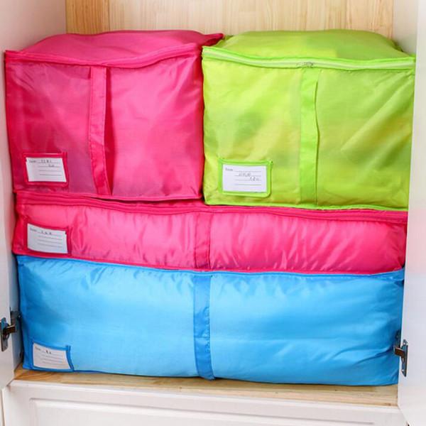 Hot Sale Home Storage Bag Clothes Quilt Bedding Duvet Zipped Handles Laundry Polyester Pillows Storage Bag Box