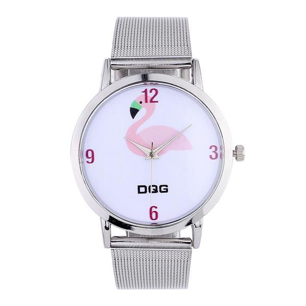 Nuevos Relojes Moda Mujer Flamingo Impreso Correa de Cuero Reloj de pulsera  de Cuarzo Analógico Mujeres d2a02d6fc3ea