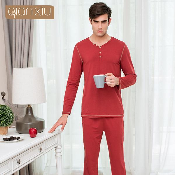 Qianxiu 2017 yeni erkek tarzı pijama takım elbise moda renk tasarım pamuk iş seyahat gerekli