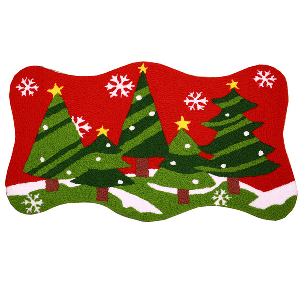 90*50cm Hand Hooked Merry Christmas Tree Gifts Santa Mat New Entrance Xmas Doormat Outdoor Toilet Bathroom Mats Floor Tapete Door Rug Carpet