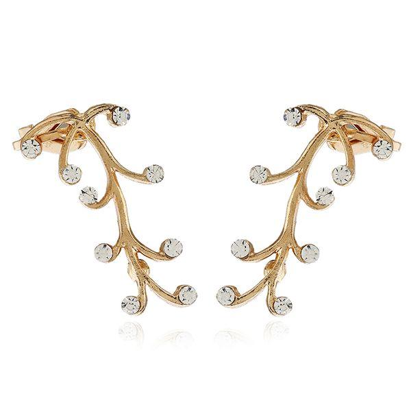 DIDNOT ein Paar Kristall Persönlichkeit verlässt Clip Ohrringe links rechts Gold Zirkon Ohrring Clip Ohr Manschette Ohrring Geschenk Schmuck FY182