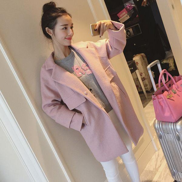 Abrigos cortos de lana de moda de invierno Abrigo de lana de cintura ancha y chaqueta Abrigo de moda Femenino