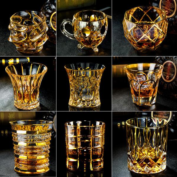Nouveau verre de vin d'or tasse Whisky VERRES Cocktail de boire transparent cristal verres de Whisky Square Bar KTV Creative verre de vin