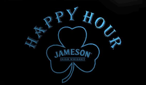 LS768-g- Jameson Whiskey Shamrock Happy Hour Bar 3D LED Neon Light Sign Customize on Demand 8 colors to choose