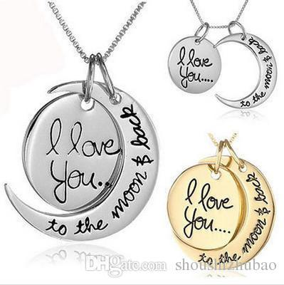 2017 7Styles I Love You To The Moon and Back Necklace 20pcs/lot Lobster Clasp Hot Pendant Necklaces