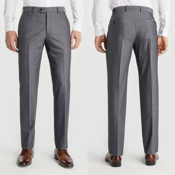 Groom Men Suit Pants Grey Formal Fashion Slim Fit Casual Business Straight Dress Trousers Free Shipping