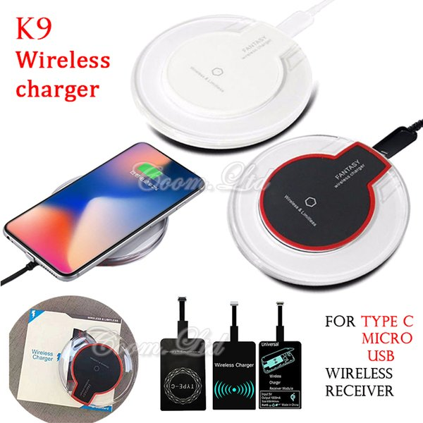 For iphone X 8 plus samsung s8 note 8 Qi Wireless Charger receiver module and Charging Pad Cell phone charger dock base Mini Charge Pad