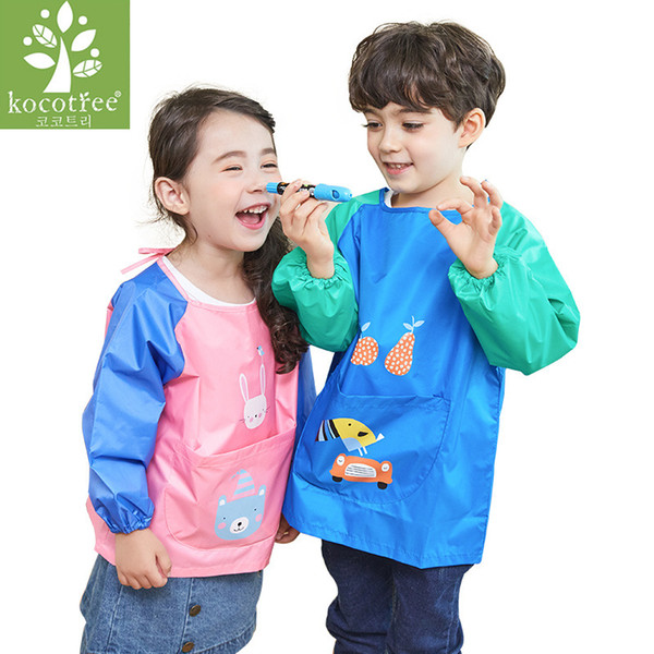 Kocotree Children Apron Cartoon Baby Bib Burp Waterproof Long Sleeve Art Smock Bibs Apron Soft Feeding baberos bavoir Clothing