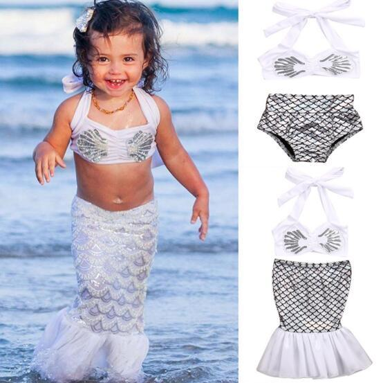 best selling 2018 fashion hot selling girl kids mermaid 2 pcs sets bikini summer girl cute shell top + fish scale short swimsuit free ship