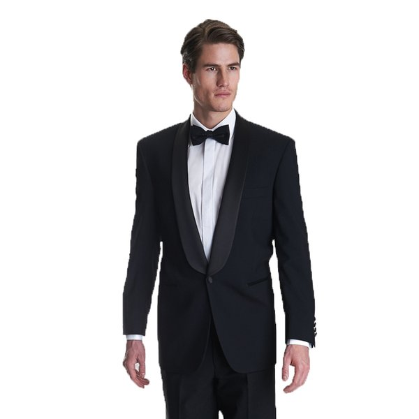 Black Groom Tuxedos Men Wedding Suits Custom Made Groomsmen Wear Slim Fit Best Man Blazers 2 Piece Jacket Black Shawl Lapel One Button