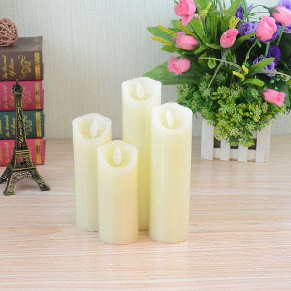 Factory outlet brand new ivory white wax flameless candle lights Dia5.3*12.5cm with flickering warm yellow lights for sale with cheap price