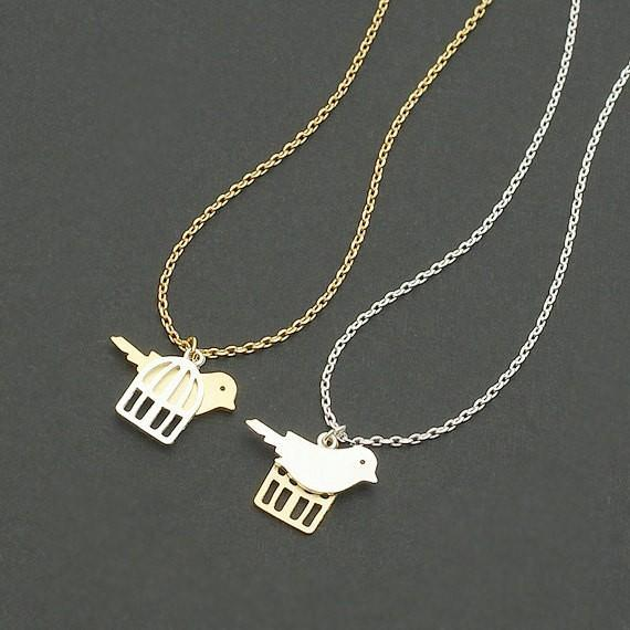 2018 Fashion birds and bird cage pendant necklace golden mixed silver plated necklaces wholesale free shipping