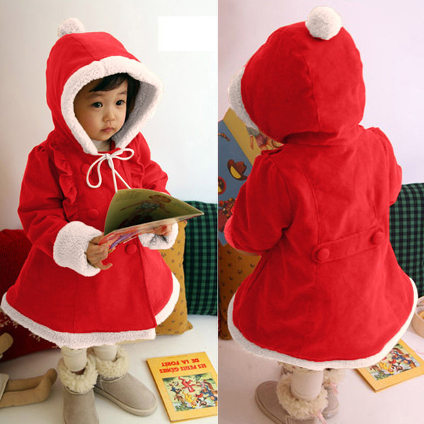Free Shipping Christmas Children Kids Fashion Long Sleeves Hooded Warm Coat cloak Clothes Party Snowsuit Coat 2018 Autumn Winter
