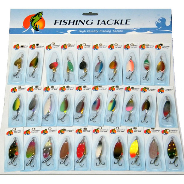 Fishing Lures Wobblers Crankbait 30 Pcs/set Assorted Laser Spinners Spoon Lure Fishing Tackle Treble Hook Spinner Metal Pesca