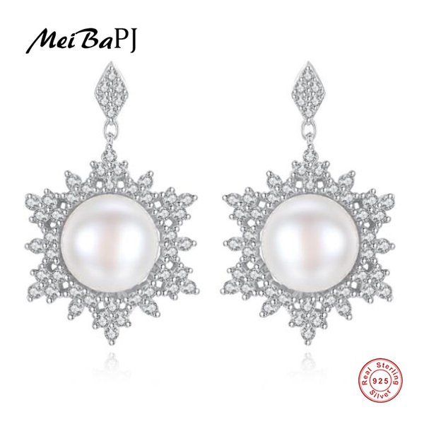 [MeiBaPJ]Natural Freshwater Pearl Fashion Snowflake Drop Earrings Real 925 Sterling Silver Fine Charm Jewelry for Women