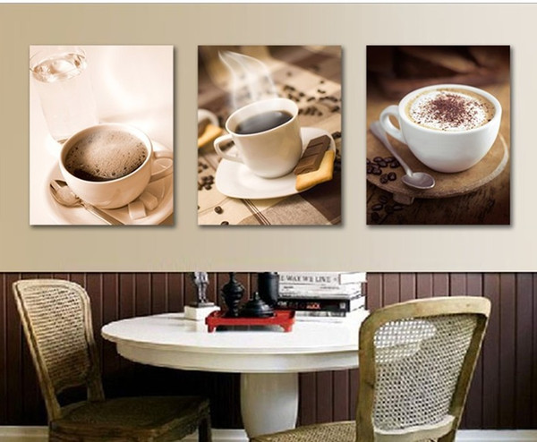 3 pieces canvas painting hot cup of coffee tea for dinner canvas poster print for living room home decoration no frame