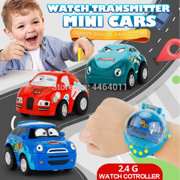Gravity Sensing Remote Control RC Smart Watch Car 1:58 Mini Cartoon With 2.4G USB Rechargeable Toys For Children Gift