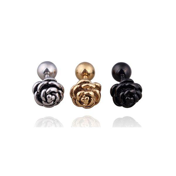 Gold Silver Black Rose Flowers Stud Earrings Stainless Steel Earrings Barbell Ball Ear Studs for Women Unisex Fashion Jewelry