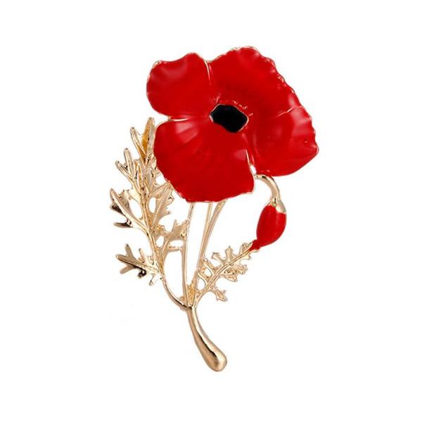 Elegant Fashion Women Brooch Poppy Flower Shape Alloy Breastpin As Wedding Mother's Day Jewelry Gift Accessories
