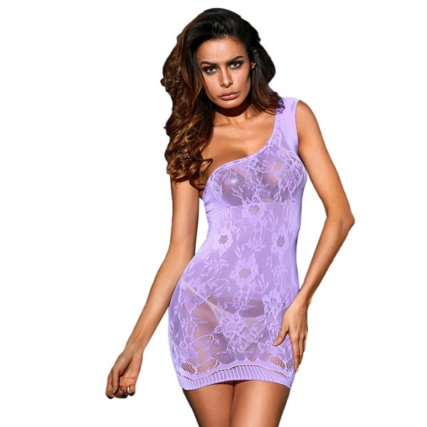 cad16a782d Sexy Floral Lace Babydolls Openwork Purple One-shoulder Pattern Slim Mini  Sleepwear Chemise Lingerie Night Dress Women Nightdress