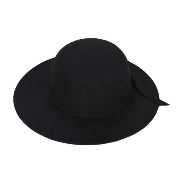 Élégant Enfants Filles Large Bord Rétro Feutre Bowler Floppy Cap Cloche Chapeau-noir