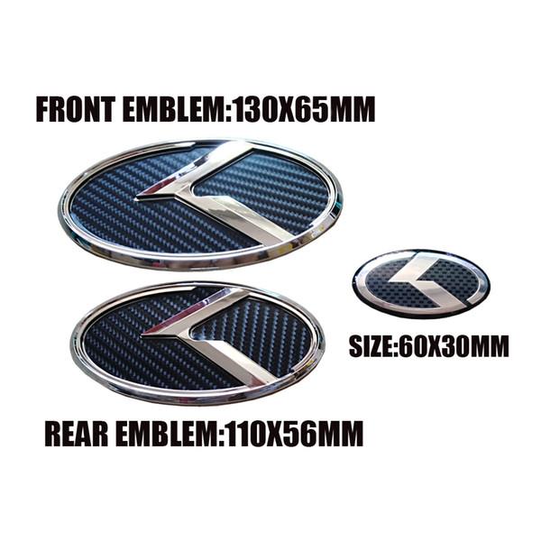 K логотип 3D черный углеродного волокна гриль капот багажник руль крышка эмблема значок для KIA K5 2011-2013 Optima Forte 2009-2014 Senda