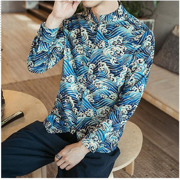 Chinese Traditional Autumn Winter Shirt new sale Printed shirt clothing chinese clothing man tang suit for men