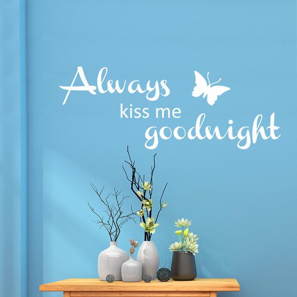 Toujours Kiss Me Goodnight Mur Art Autocollant Citation Chambre Salon Autocollant Amour
