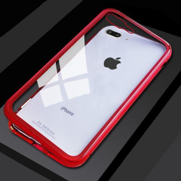 COVER CUSTODIA MAGNETICA Alluminio Vetro Apple Iphone 6 6S 8 X 7